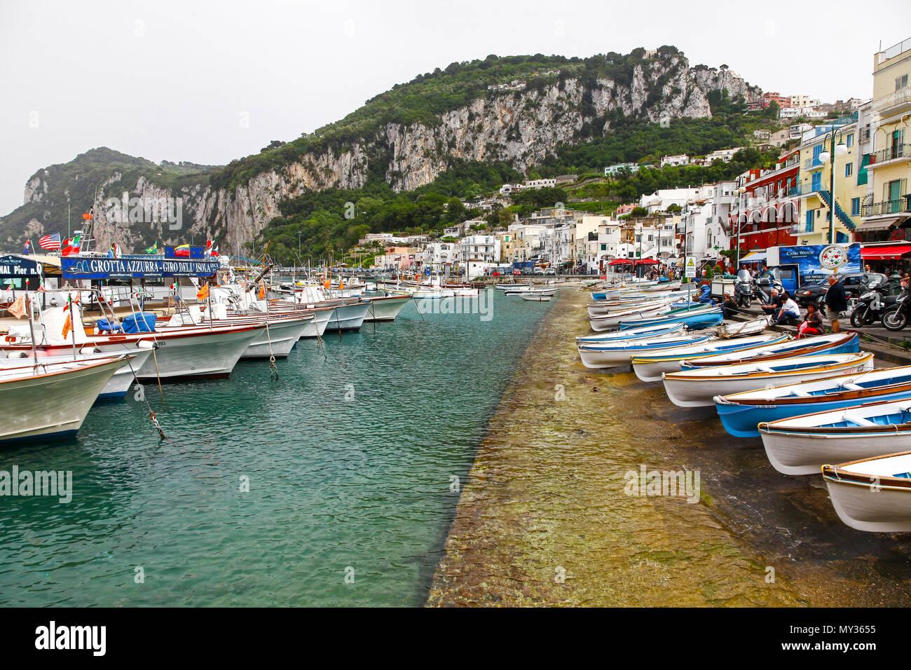 Boats in The Marina Grande on the island of Capri, Campania, Italy - Stock Image