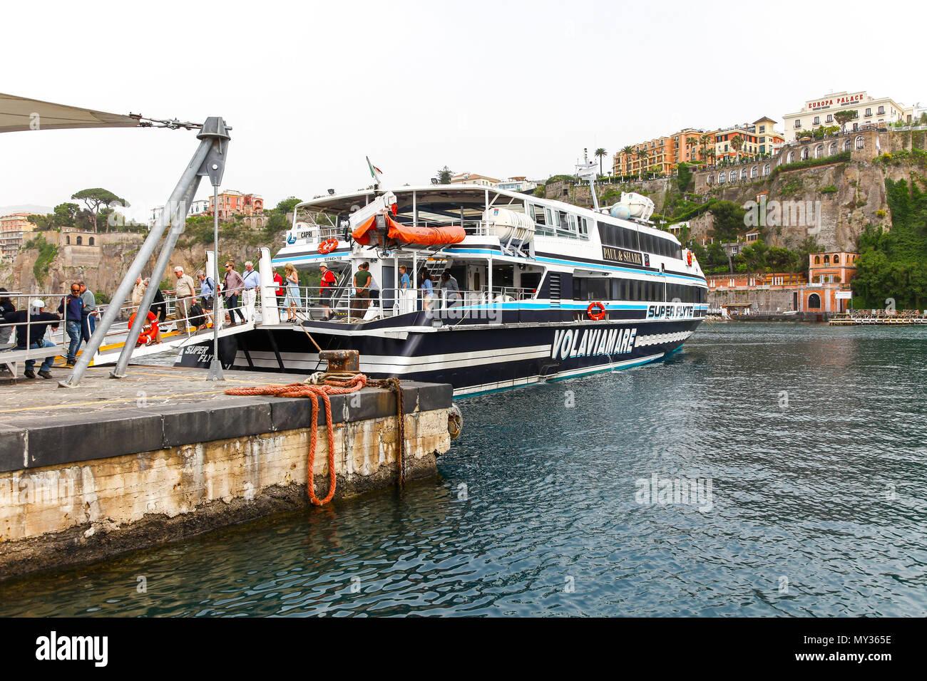The ferry boat in The Marina Grande on the island of Capri, Campania, Italy - Stock Image
