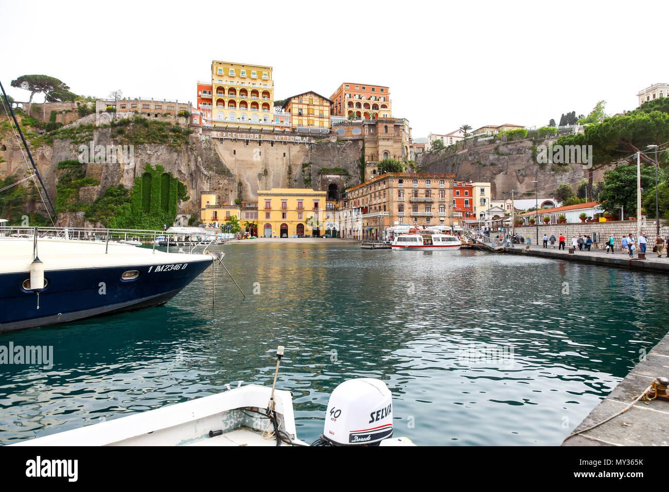 Boats in the Marina Piccola, Sorrento, southwestern Italy - Stock Image