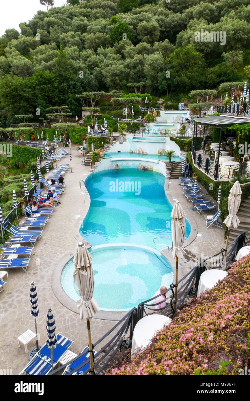 The swimming pool area of the Grand Hotel Capodimonte, Sorrento, Italy - Stock Image