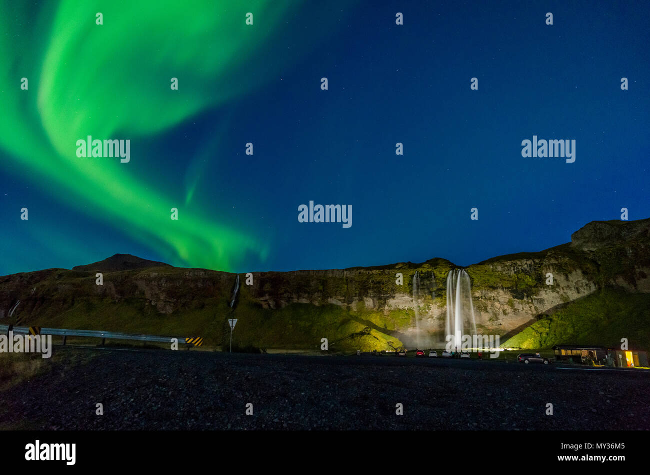Aurora Borealis, Seljalandsfoss, Iceland Stock Photo