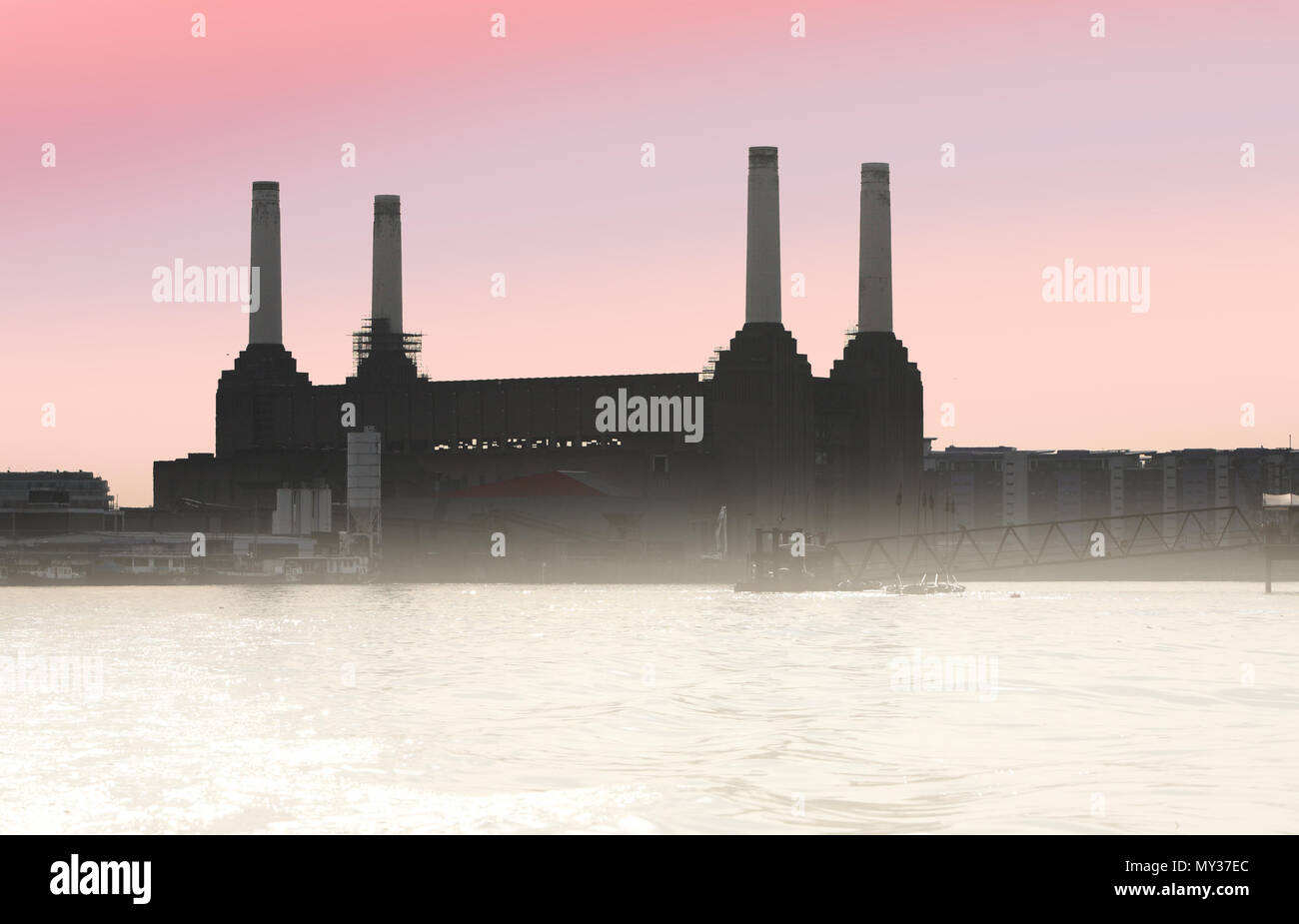 Battersea Power Station an iconic London landmark seen from the river Thames. London - Stock Image