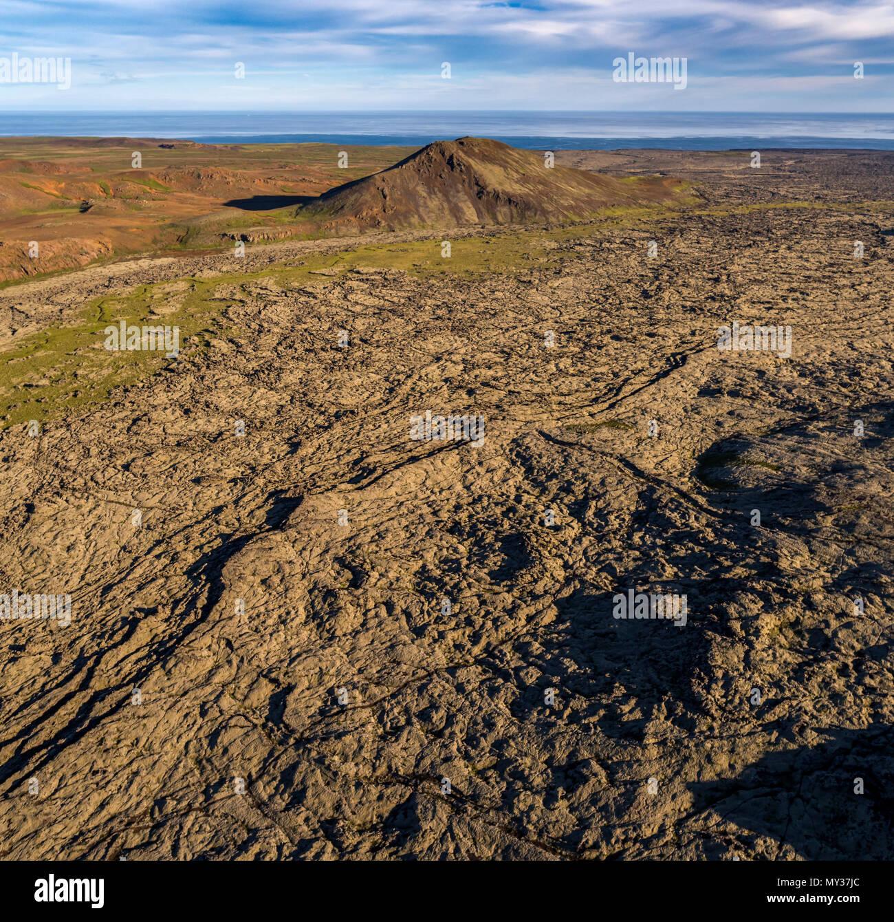 Lava fields-Nupshlidarhals, Reykjanes Peninsula, Iceland - Stock Image