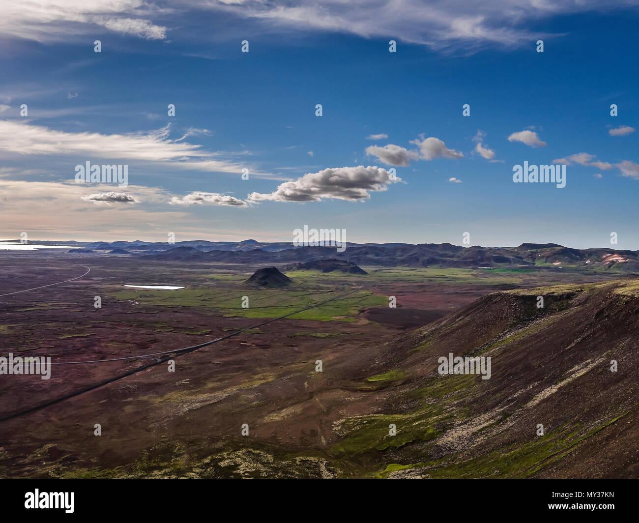 Lava fields, Eldborg, Reykjanes Peninsula, Iceland - Stock Image