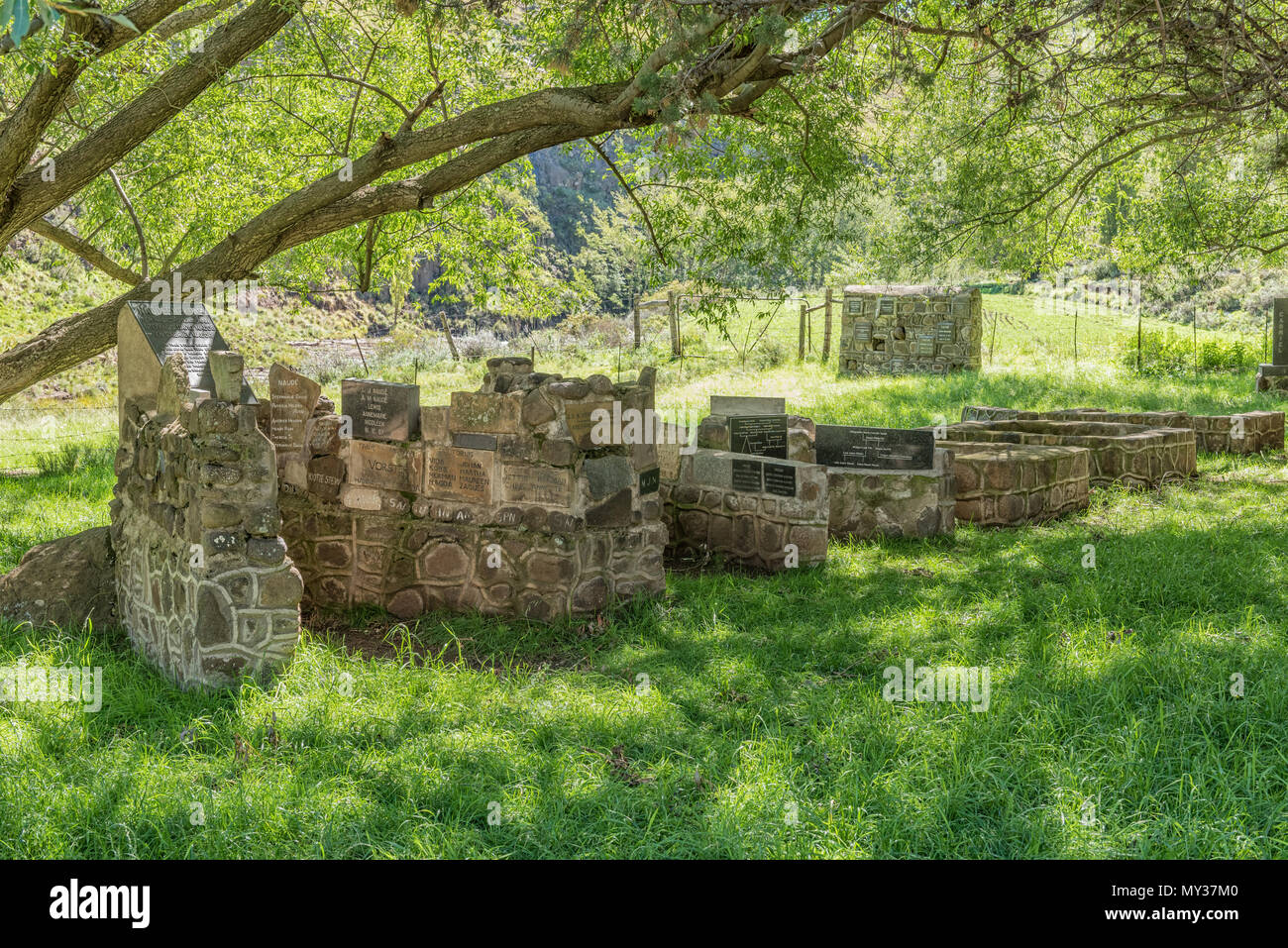 NAUDES NEK PASS, SOUTH AFRICA - MARCH 27, 2018: The Naude Family Monument at the foot of the Naudes Nek Pass near Rhodes in the Eastern Cape Province - Stock Image