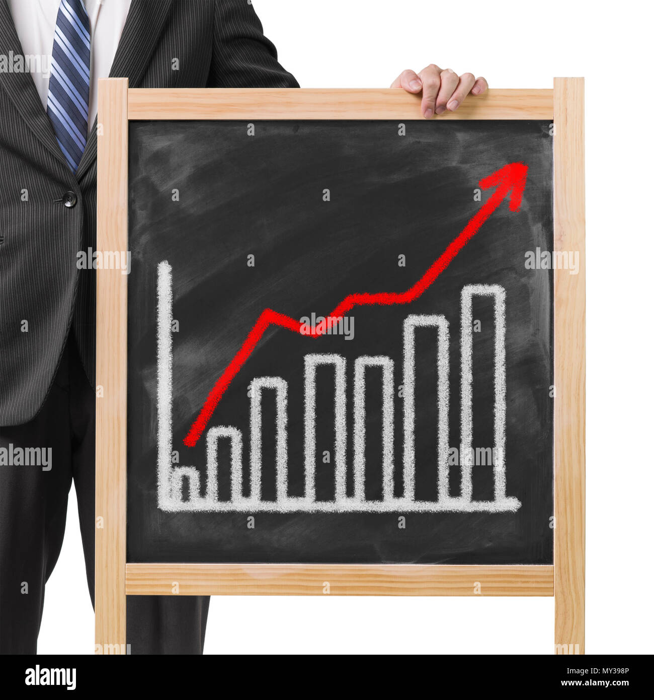 Businessman hold dirty wooden chalk board with going up trend and  histogram in white background - Stock Image