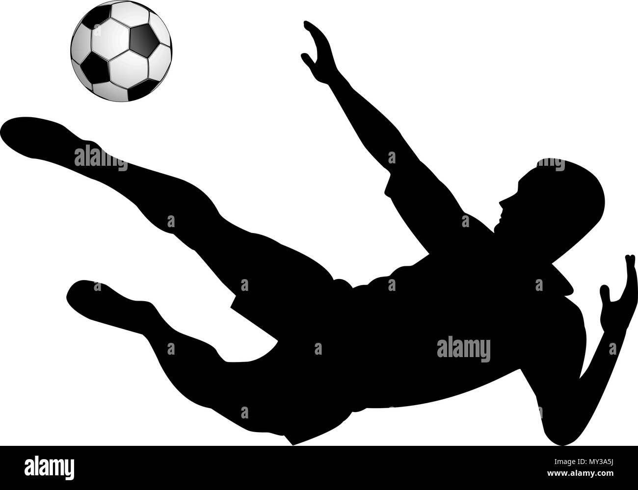 Silhouette of soccer player with a ball on a white background. - Stock Vector