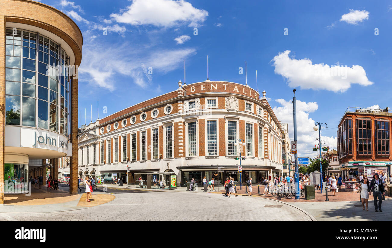 Bentalls and John Lewis department stores in the town centre pedestrian zone of Kingston upon Thames, Greater London, UK on a sunny summer day - Stock Image