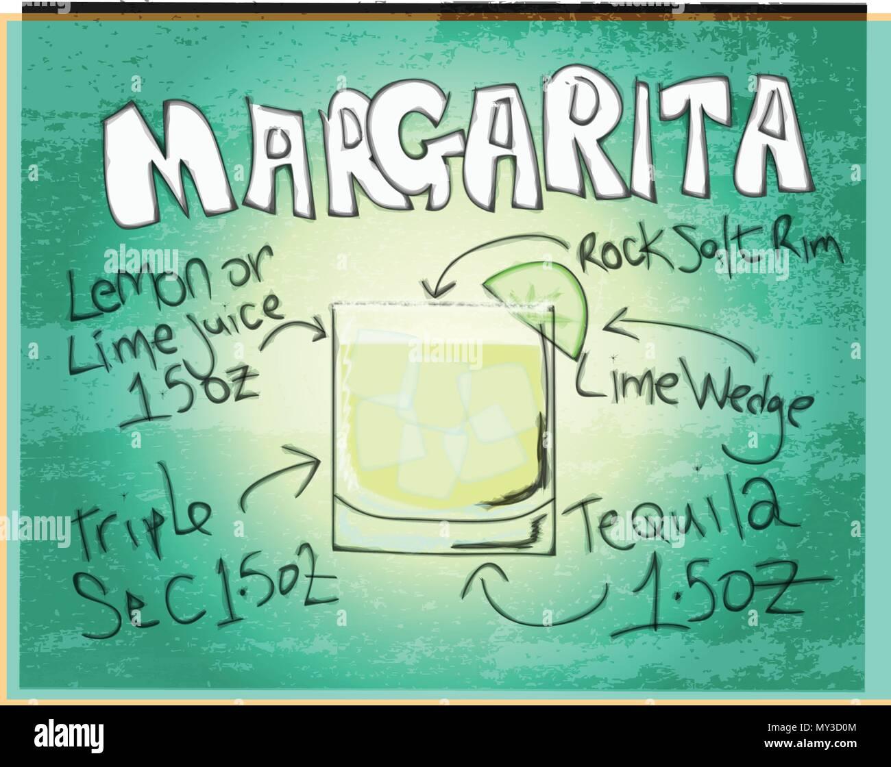 Graphic Illustration of Margarita Recipe Stock Vector