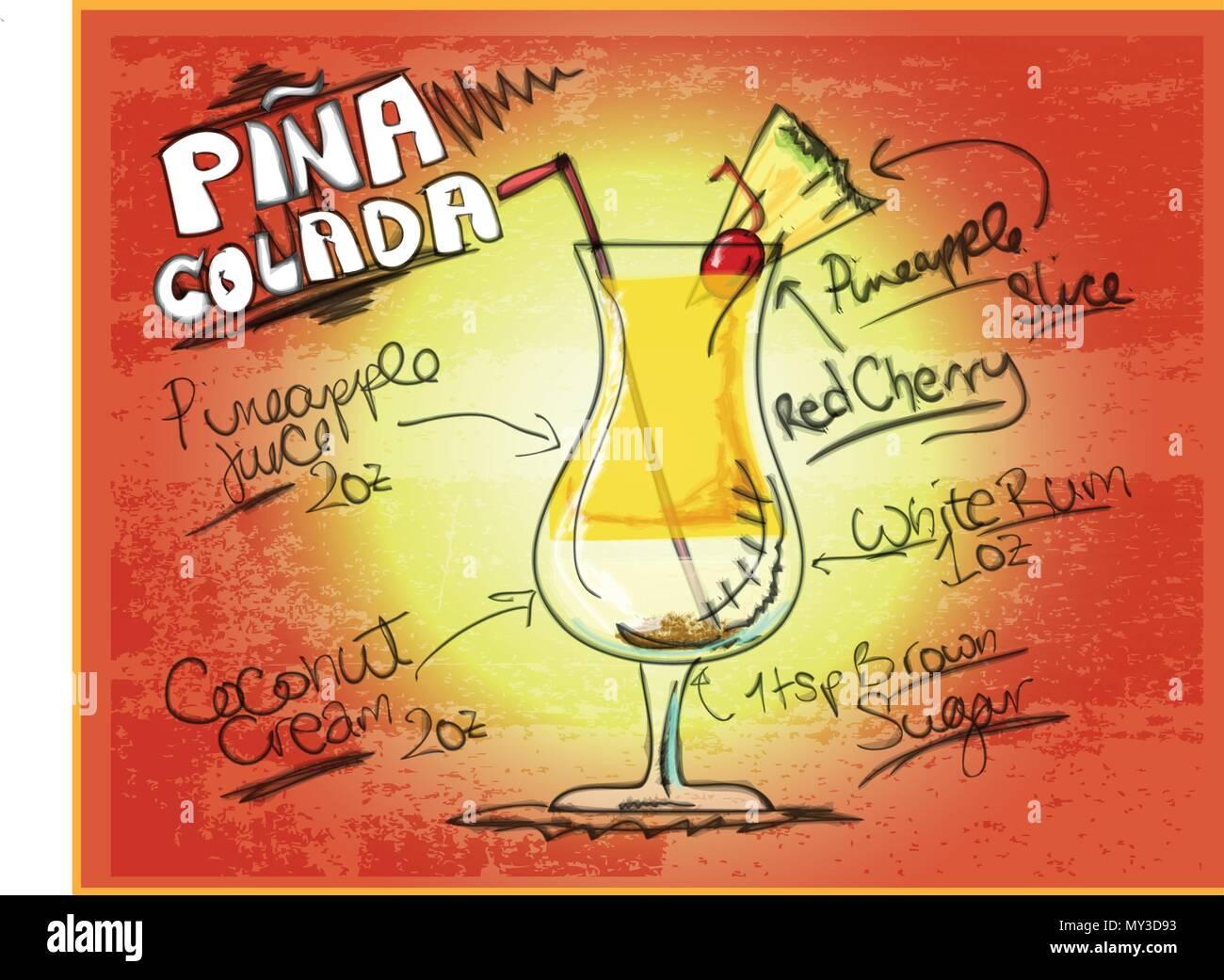 Graphic Illustration of Pina Colada Recipe Stock Vector