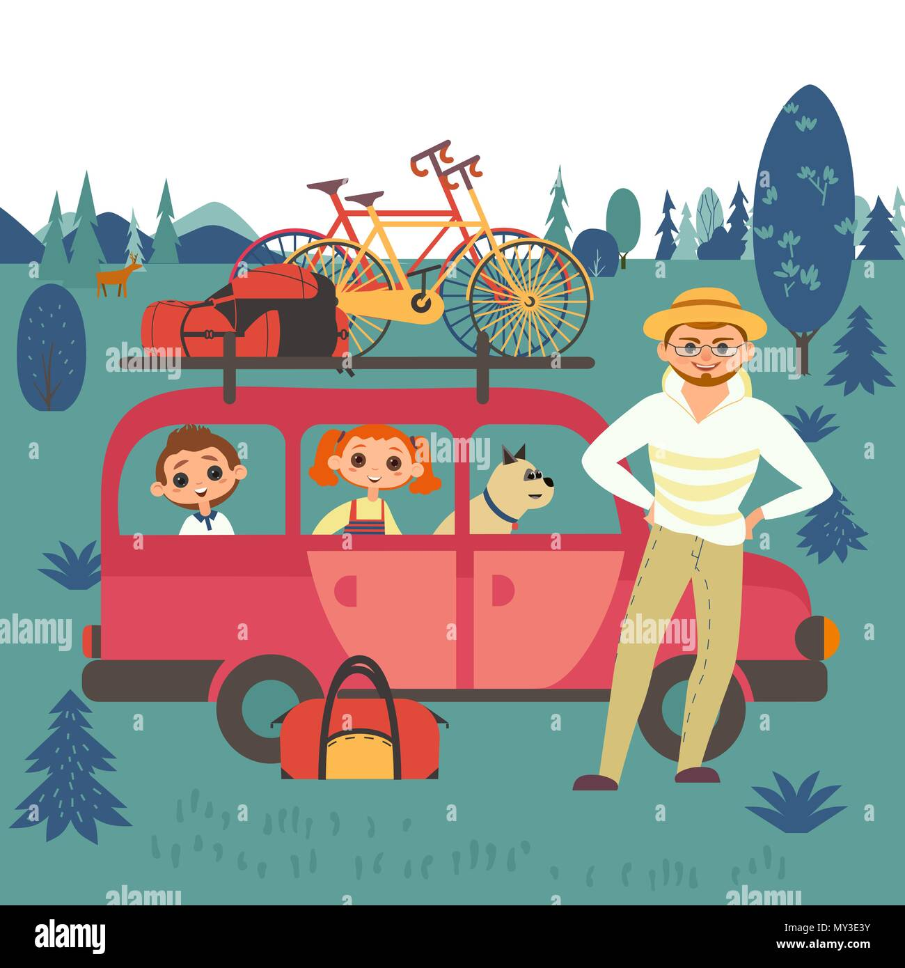 Happy family travel - Stock Vector