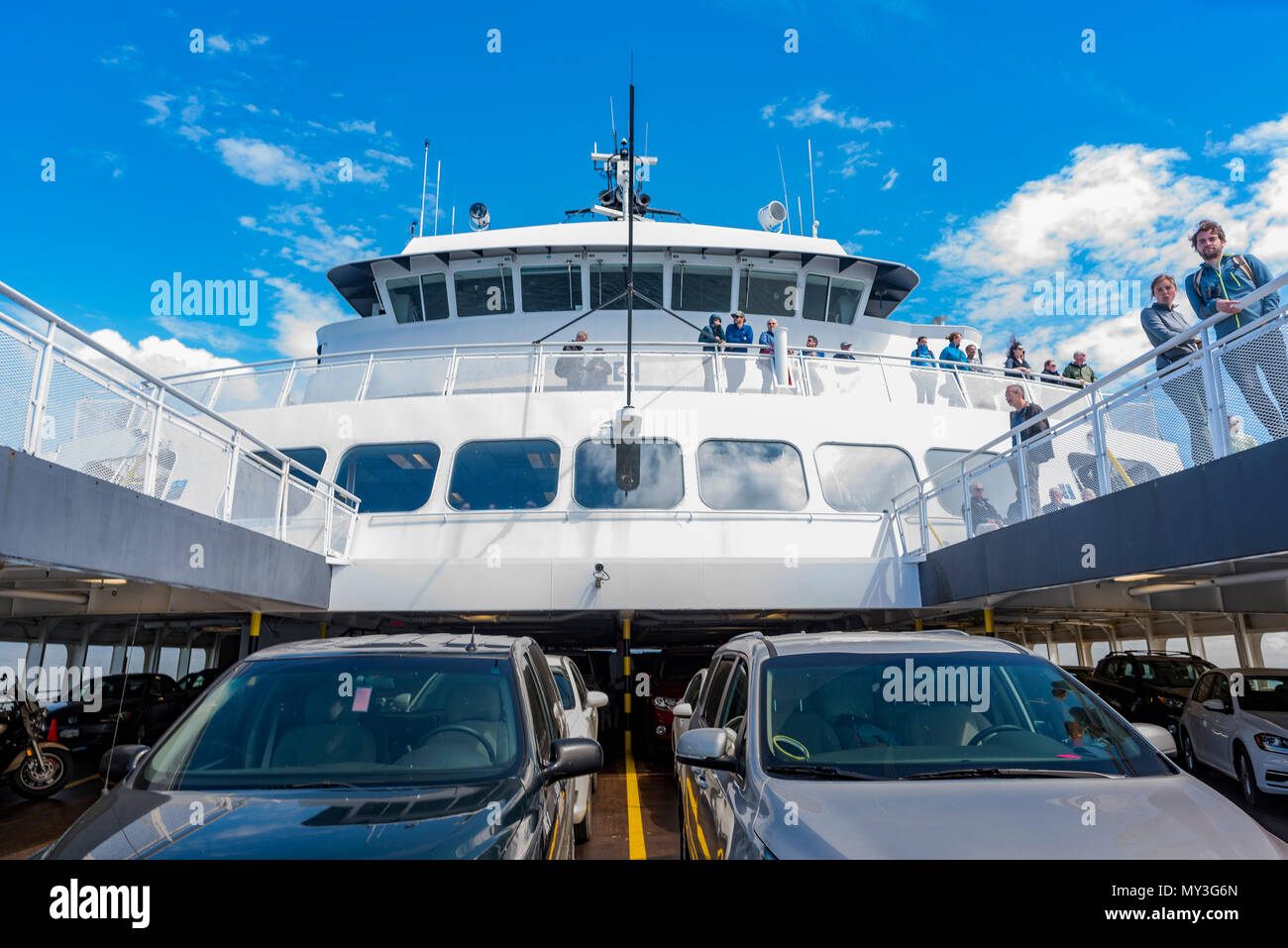 Cars and passengers on decks of BC Ferry, British Columbia, Canada. - Stock Image