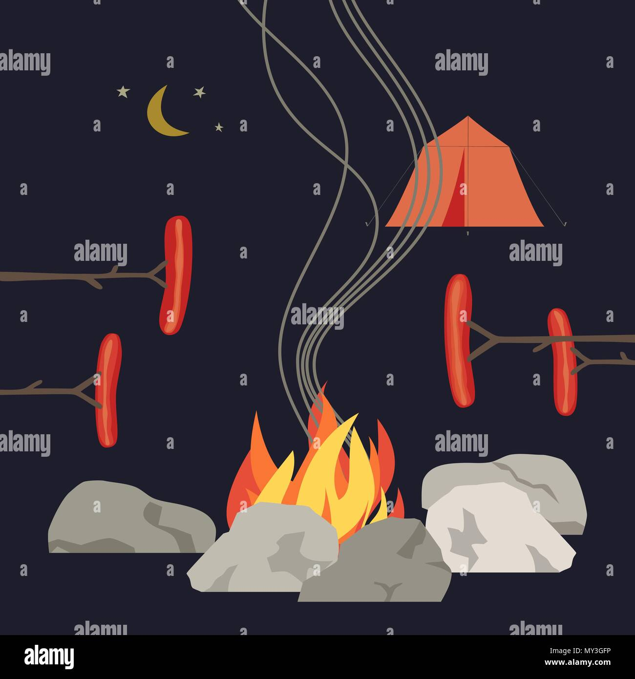 Campfire icon isolated Stock Vector