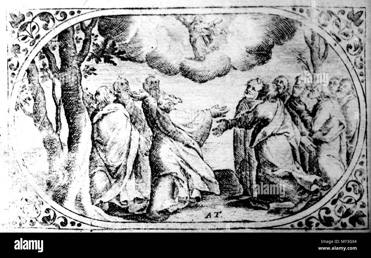 601 Унебаўшэсце. Медзярыт Аляксандра Тарасевіча з кнігі «Rosarium et officium B. V. M.» Vilno. Каля 1679 г. - Stock Image