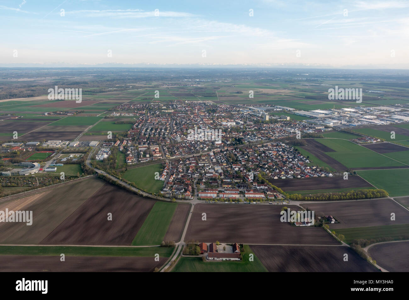Aerial view of Neufahrn bei Freising on the western approach to Munich Airpoert (Flughafen München) Germany. - Stock Image