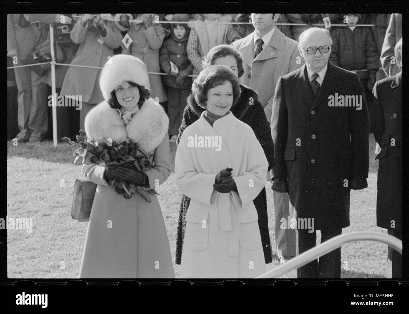 First Lady Rosalynn Carter (center) welcomes Margaret Trudeau (left), the wife of Canadian Prime Minister Pierre Trudeau, to the White House, Washington, DC, 2/21/1977. Photo by Thomas O'Halloran. Stock Photo