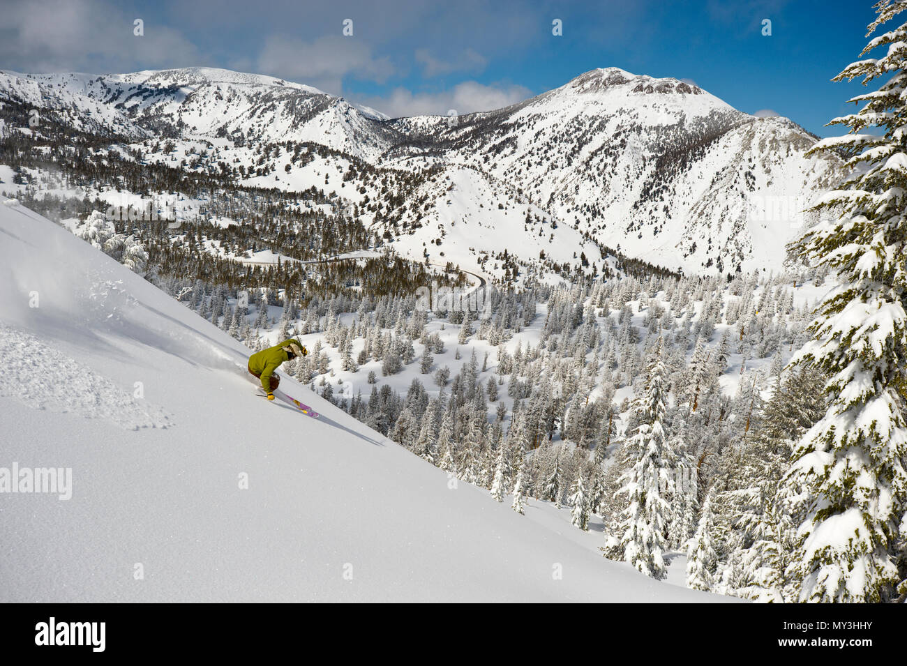 Powder day and first tracks at Mt. Rose Ski Tahoe in the Sierra mountains between Reno and Lake Tahoe. Stock Photo