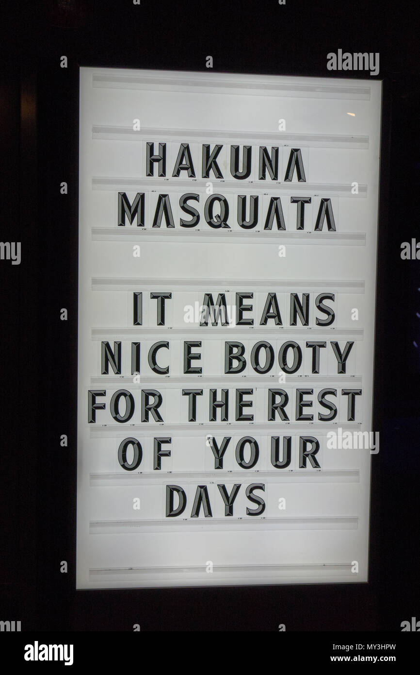 Hakuna Masquata: It Means Nice Booty For The Rest of Your Days; Rumble Boxing Studio, Calgary, Alberta, Canada. Stock Photo