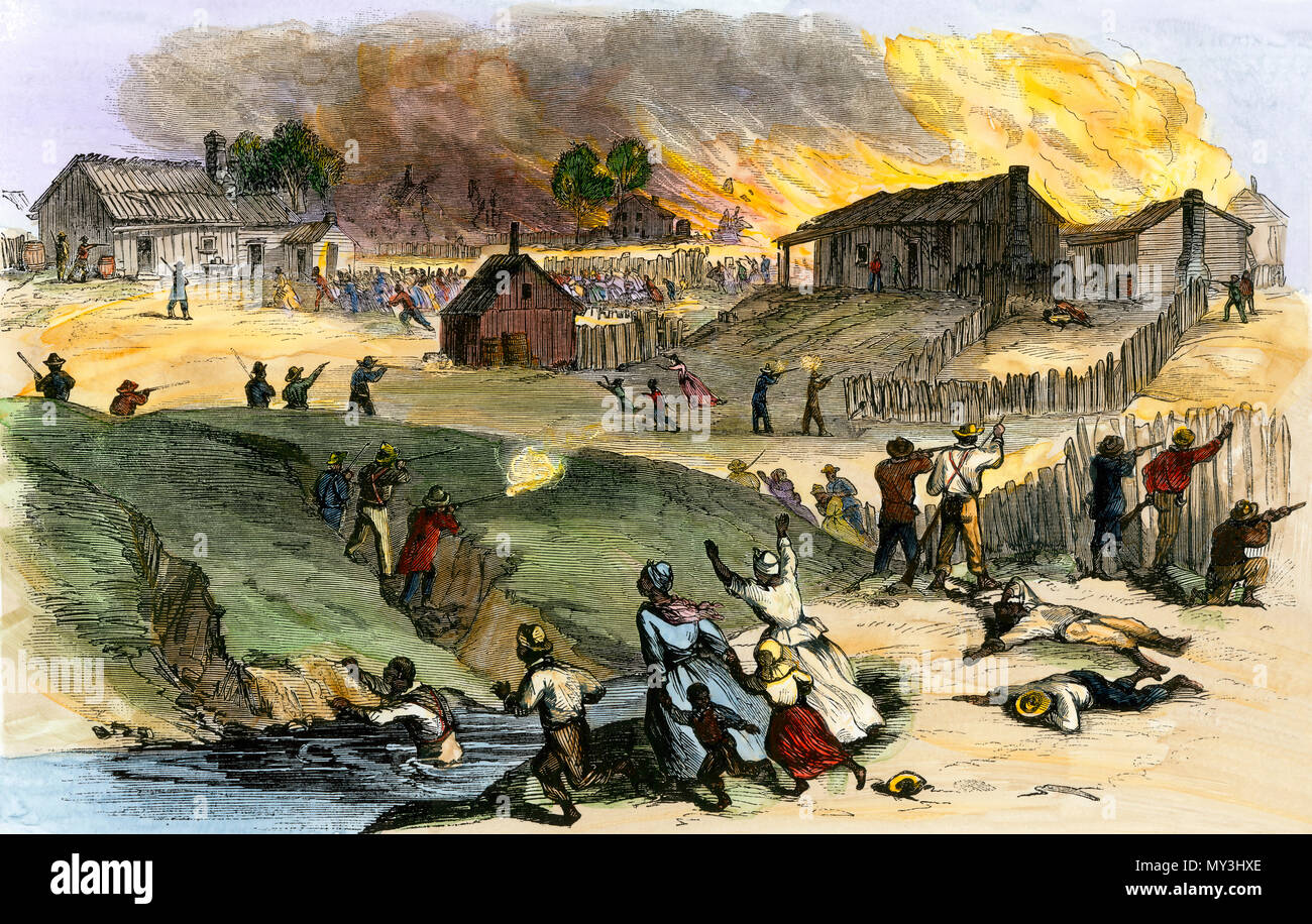 Whites shooting black families in Memphis TN race riot, 1866. Hand-colored woodcut - Stock Image
