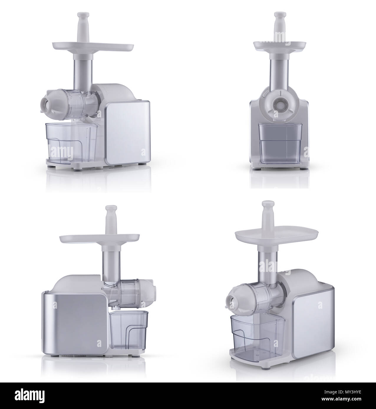 household electric meat grinder on a white background, different ...