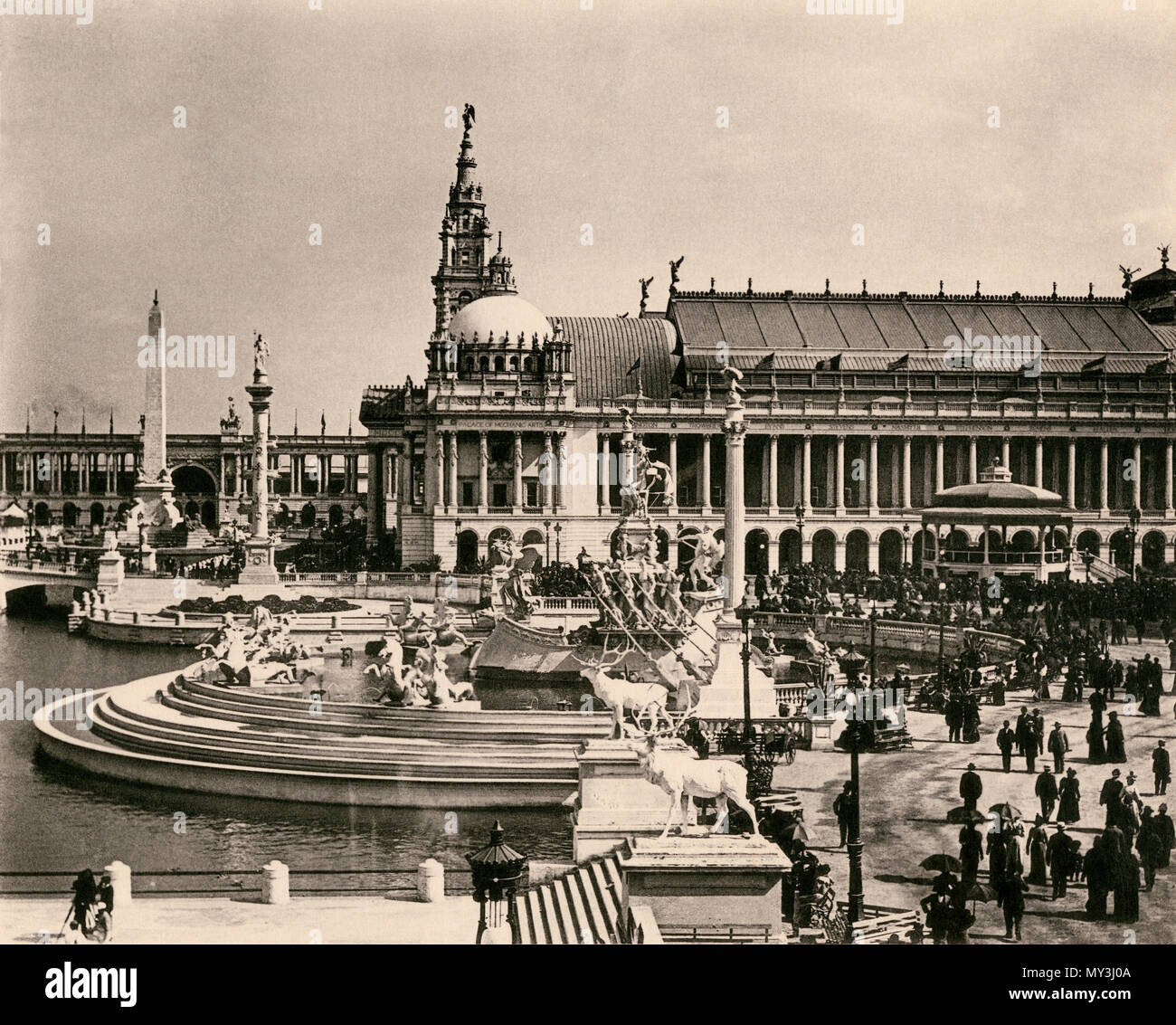 Upper Basin, Obelisk, Machinery Hall and MacMonnies Fountain, Columbian Exposition, Chicago 1893. Albertype (photograph) - Stock Image