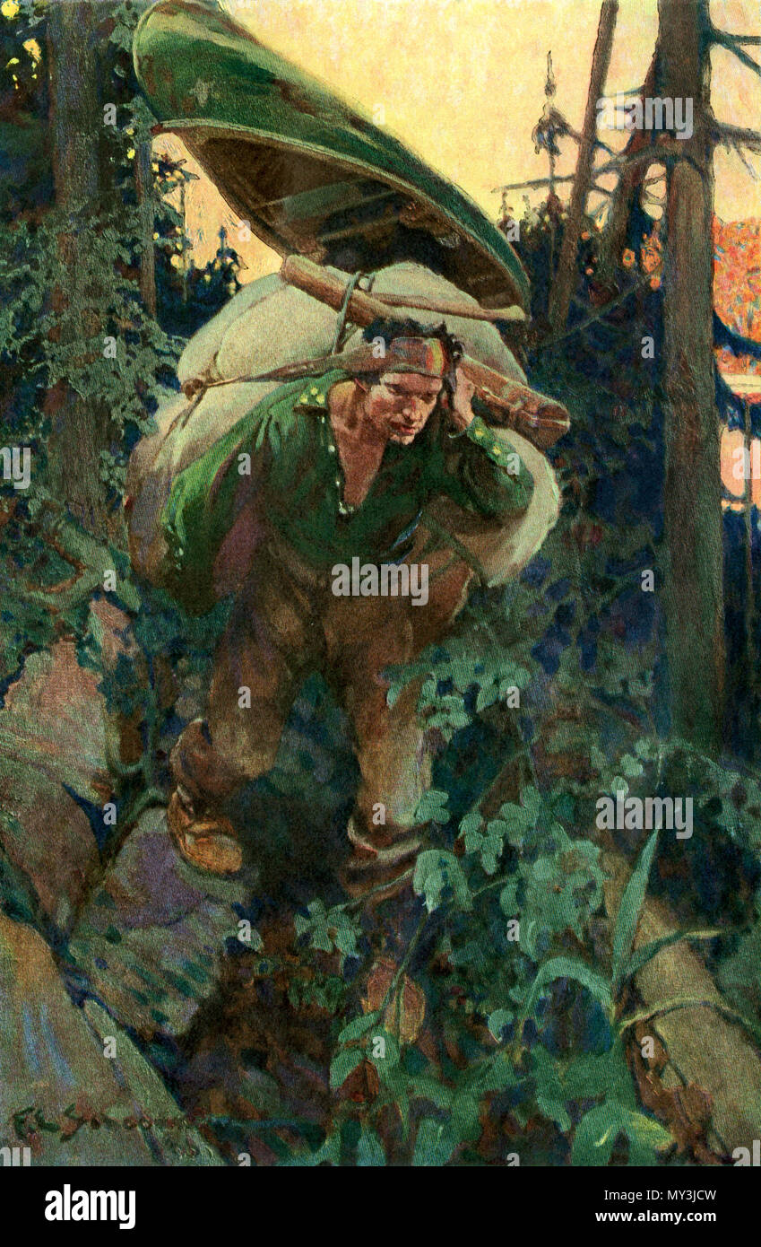 Native American woodsman carrying a pack on a canoe portage, northern forest. Color halftone of an F. E. Schoonover illustration - Stock Image