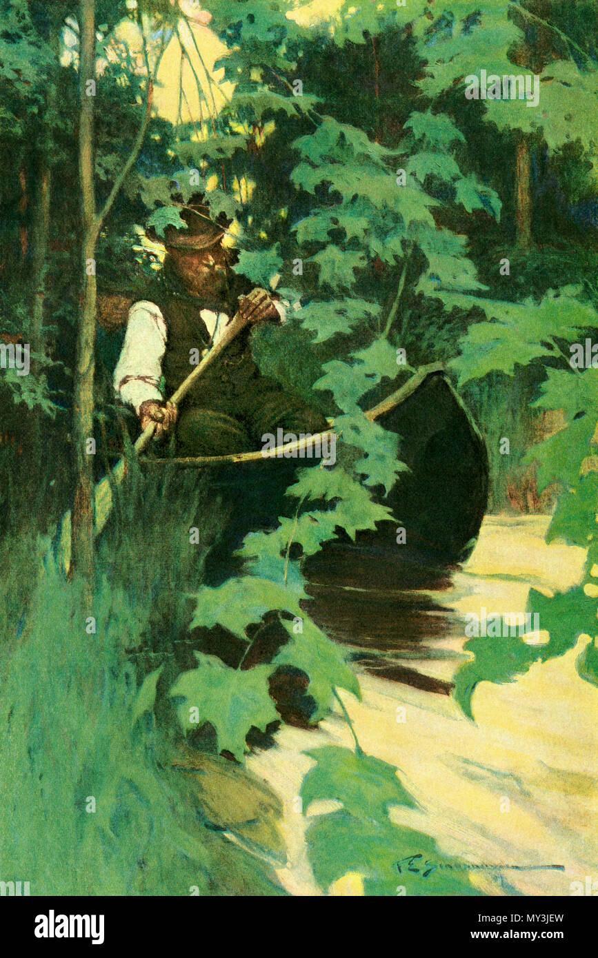 Paddling a canoe through waters of the north woods. Color halftone of an F. E. Schoonover illustration - Stock Image