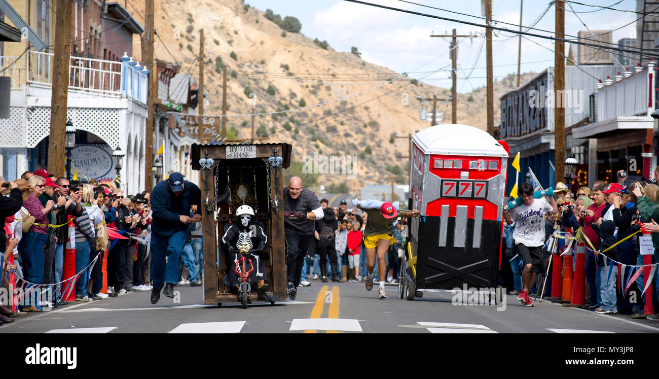 The annual Virginia City, Nevada, outhouse races, one of the quirkiest old west celebrations to be found. - Stock Image