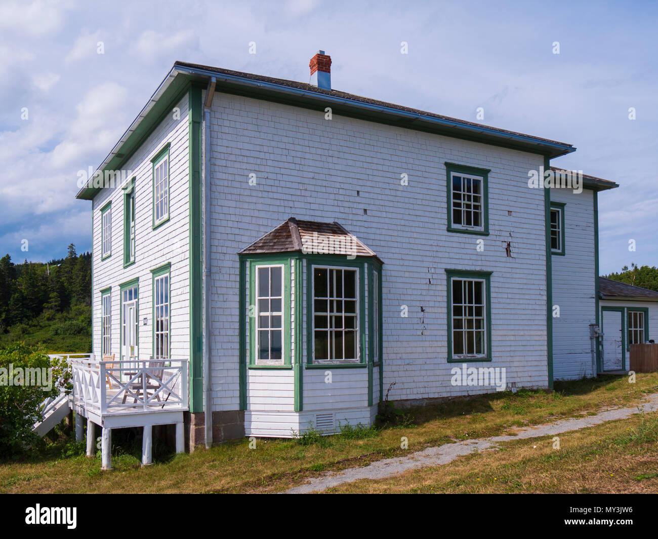Historic foursquare House, Forillon National Park, Gaspe Peninsula, Canada. - Stock Image