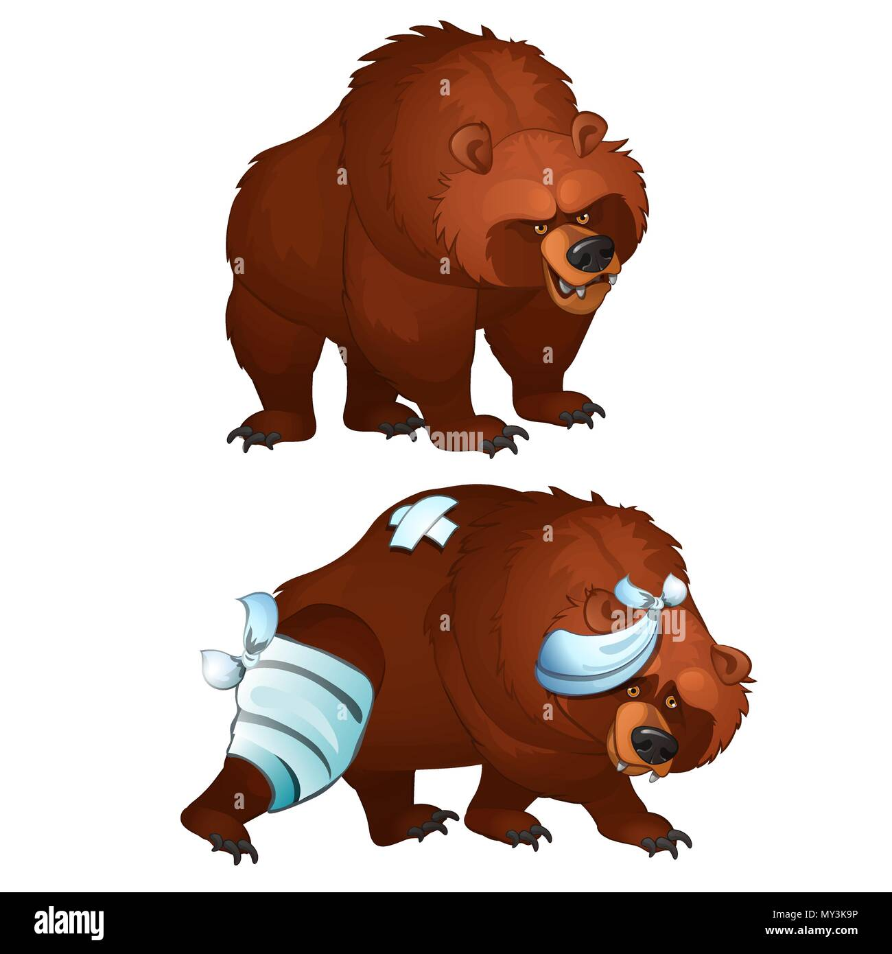 Healthy and diseased bear isolated on white background. Vector cartoon close-up illustration. - Stock Vector