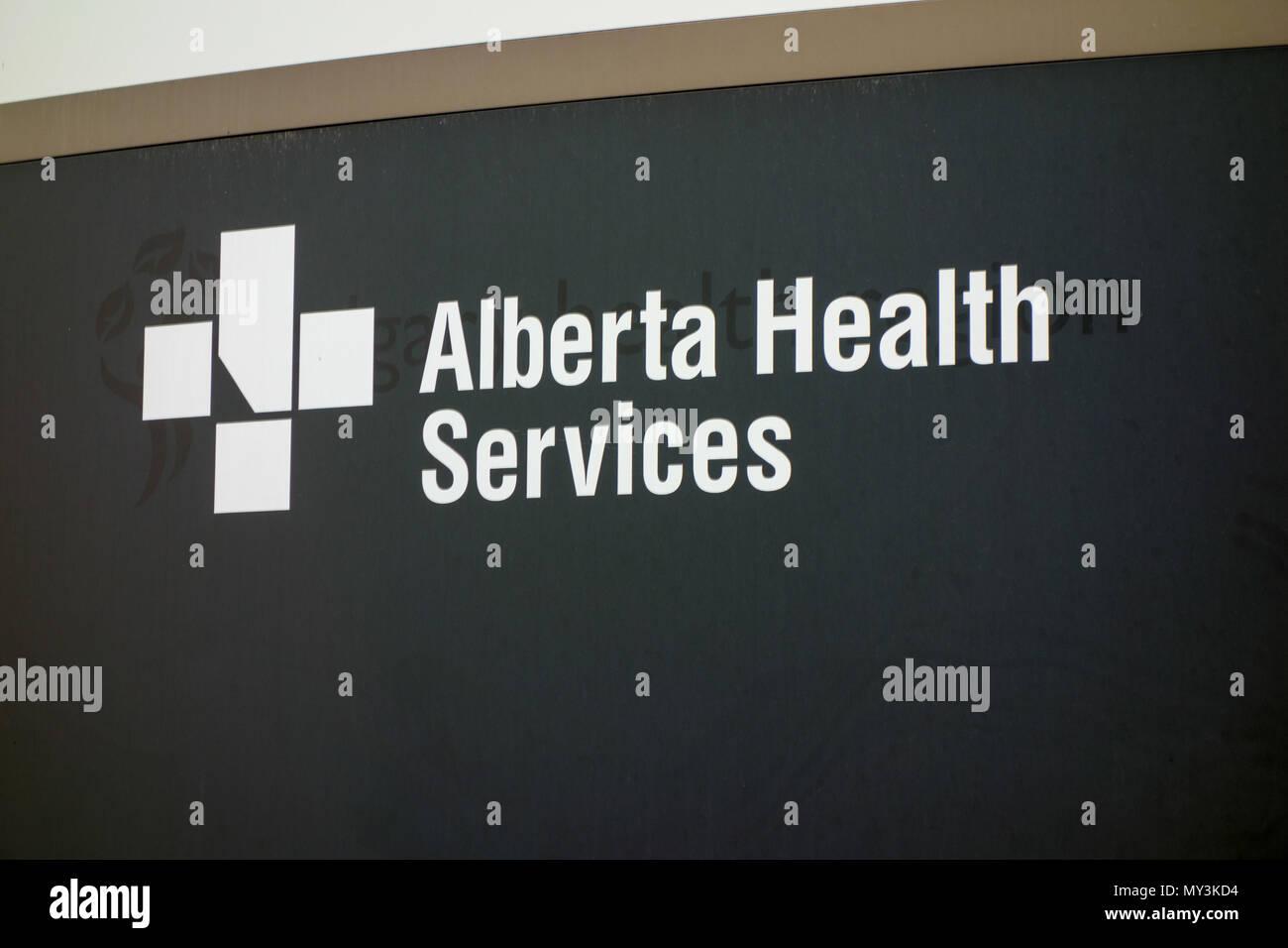 Alberta Health Services Sign; Entrance to the Sheldon M. Chumir Health Centre, Calgary, Alberta, Canada. - Stock Image