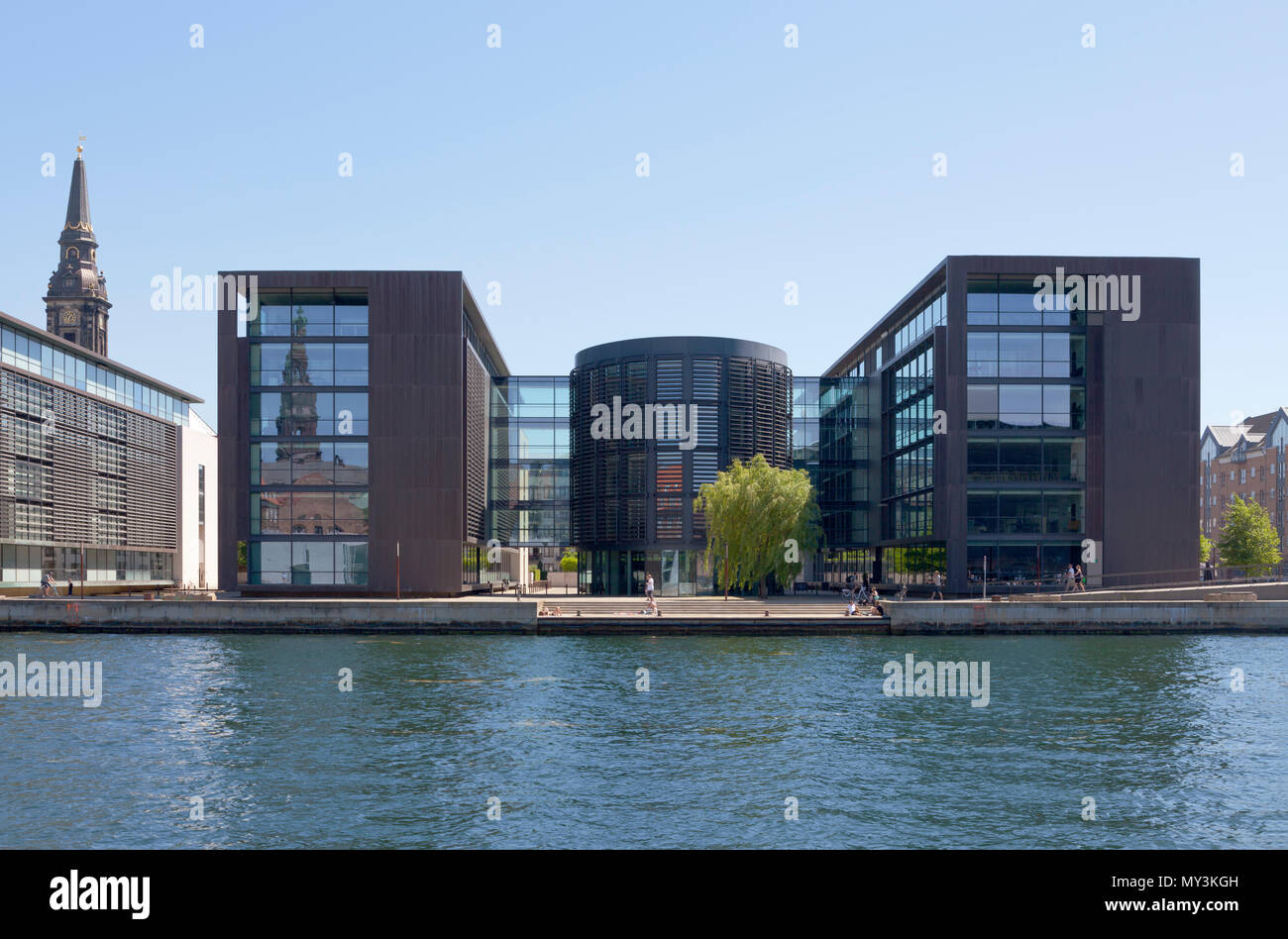 The harbour side of the Danish Tax Ministry building in Copenhagen, Denmark. Stock Photo
