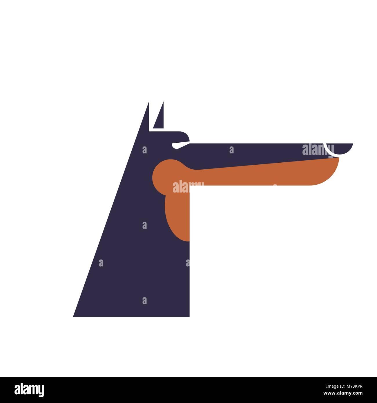 Doberman service dog protector. Pet Vector illustration - Stock Vector
