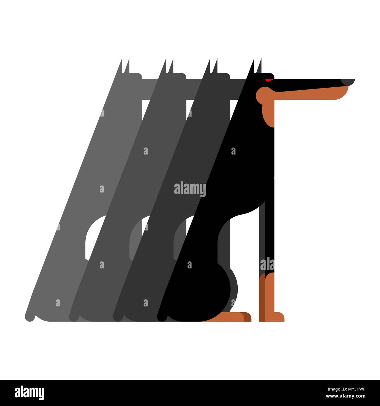 Doberman Flock dog protector. Pet Vector illustration - Stock Vector