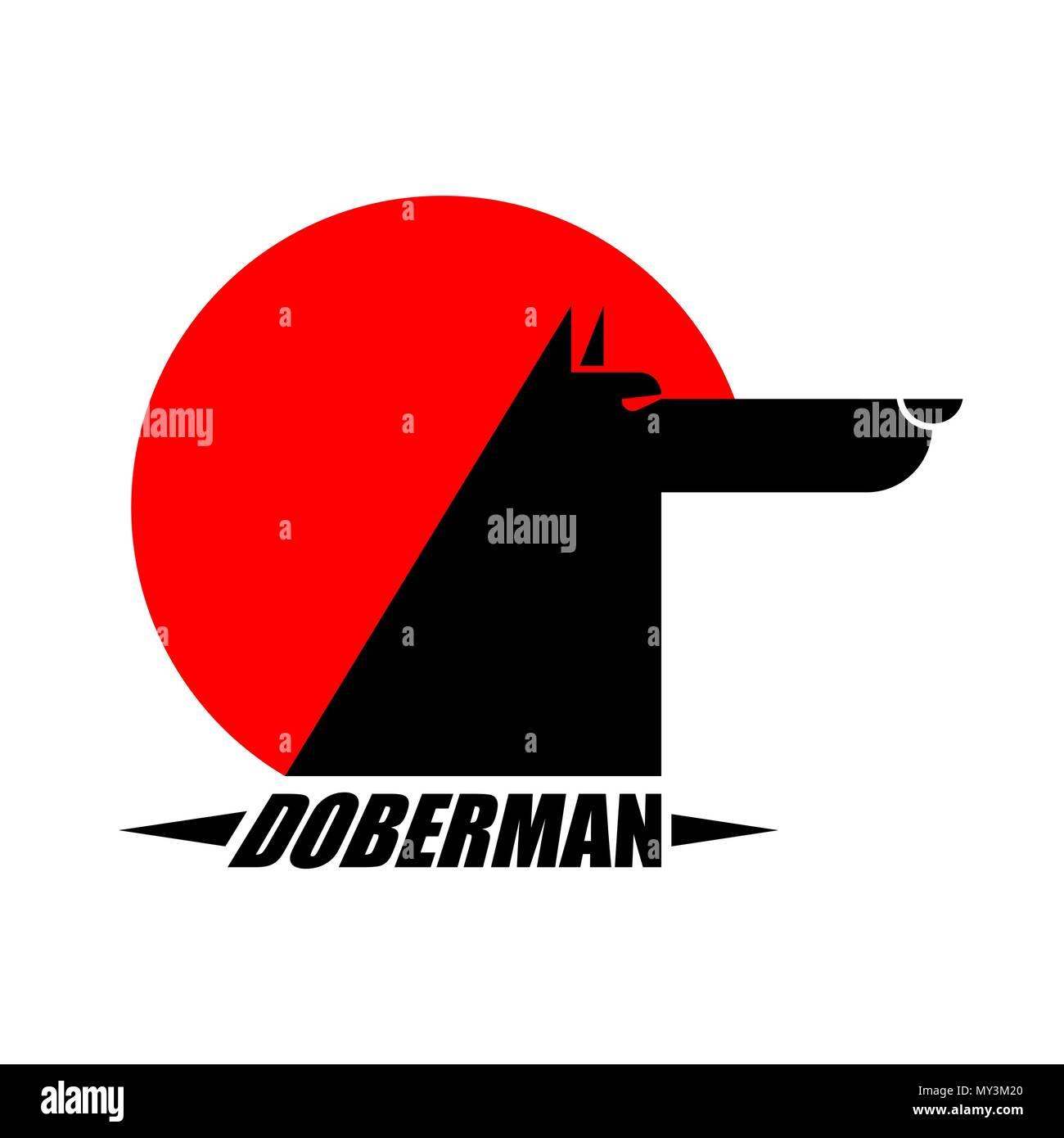 Doberman sign dog protector. Pet Vector illustration - Stock Vector