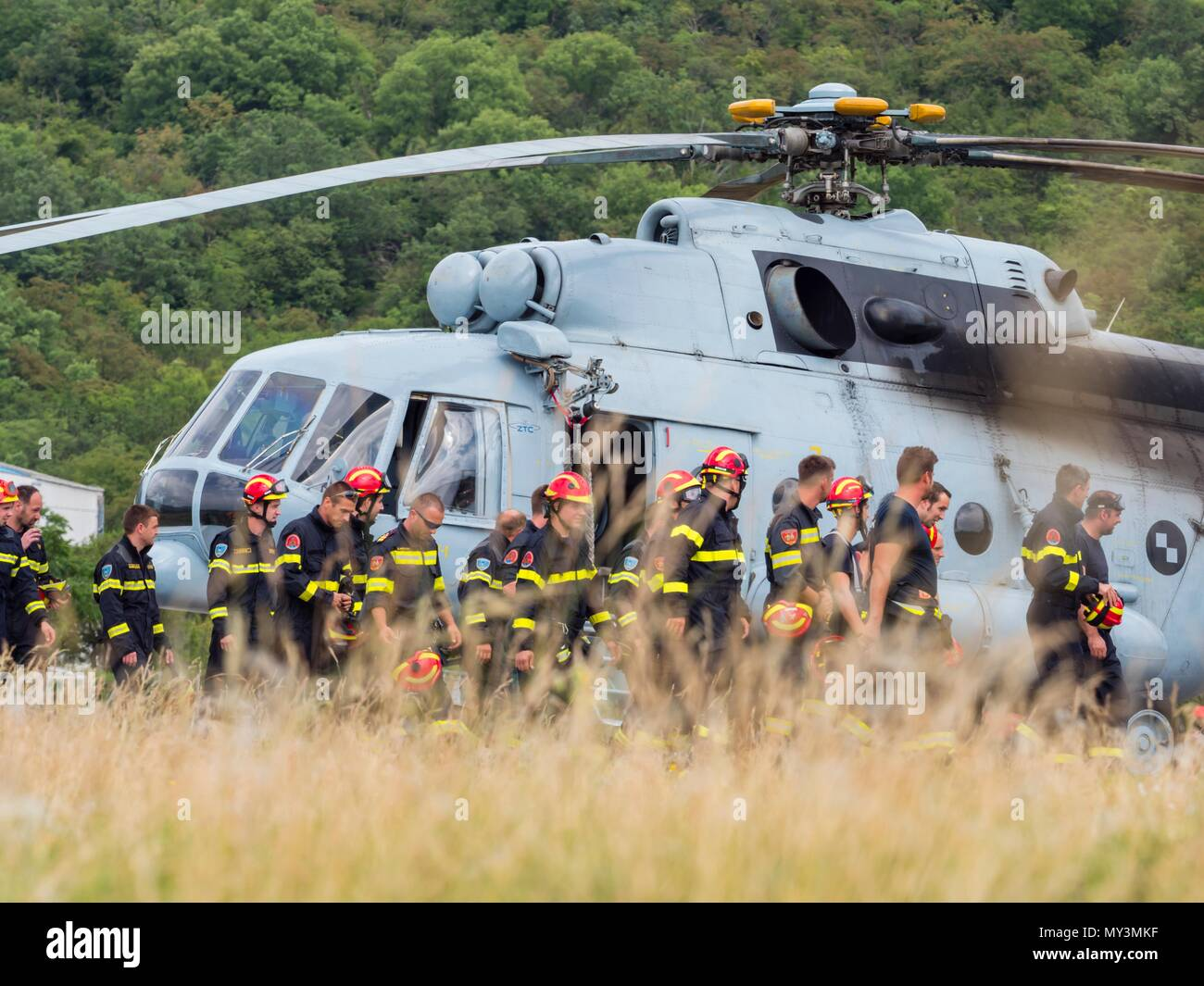 Croatia HRZ Croatian Air Force helicopter Mi-8 Mi8 MTV1 firefighters exercisingStock Photo