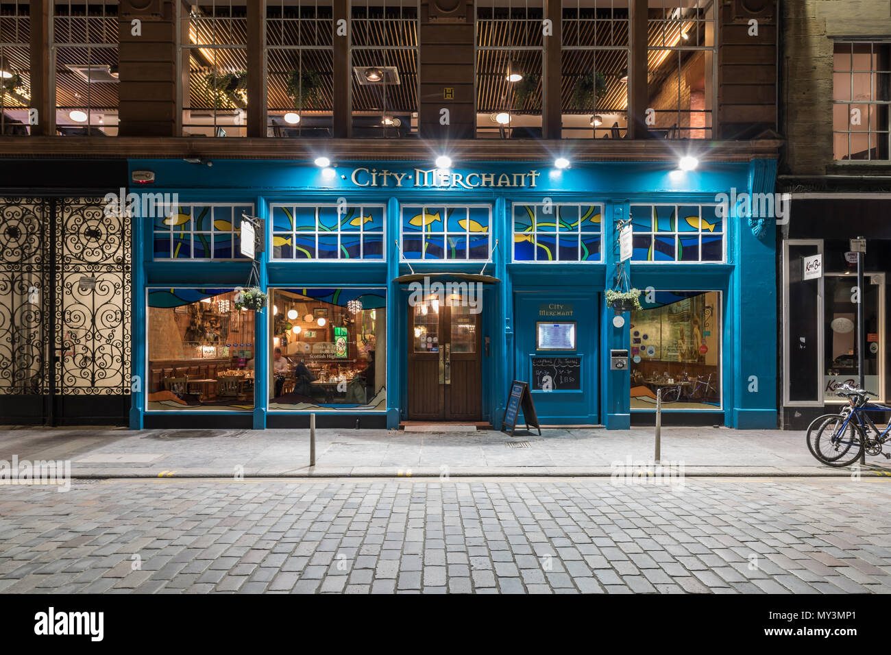 City Merchant Restaurant in Candleriggs Glasgow - Stock Image