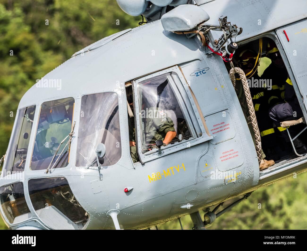 Croatia HRZ Croatian Air Force helicopter Mi-8 Mi8 MTV1 Stock Photo