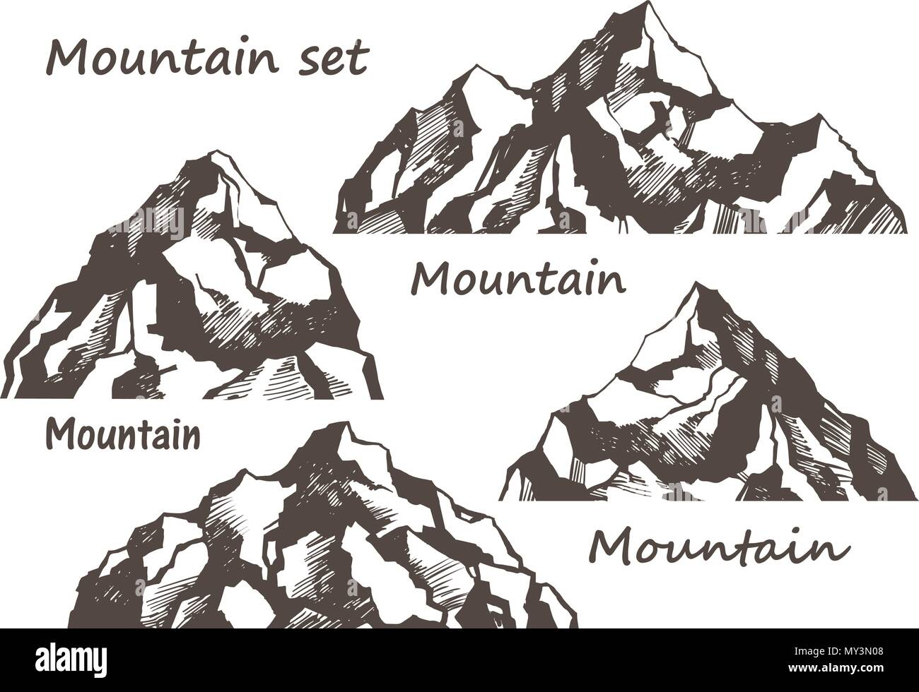 Mountains and rocks set - Stock Vector