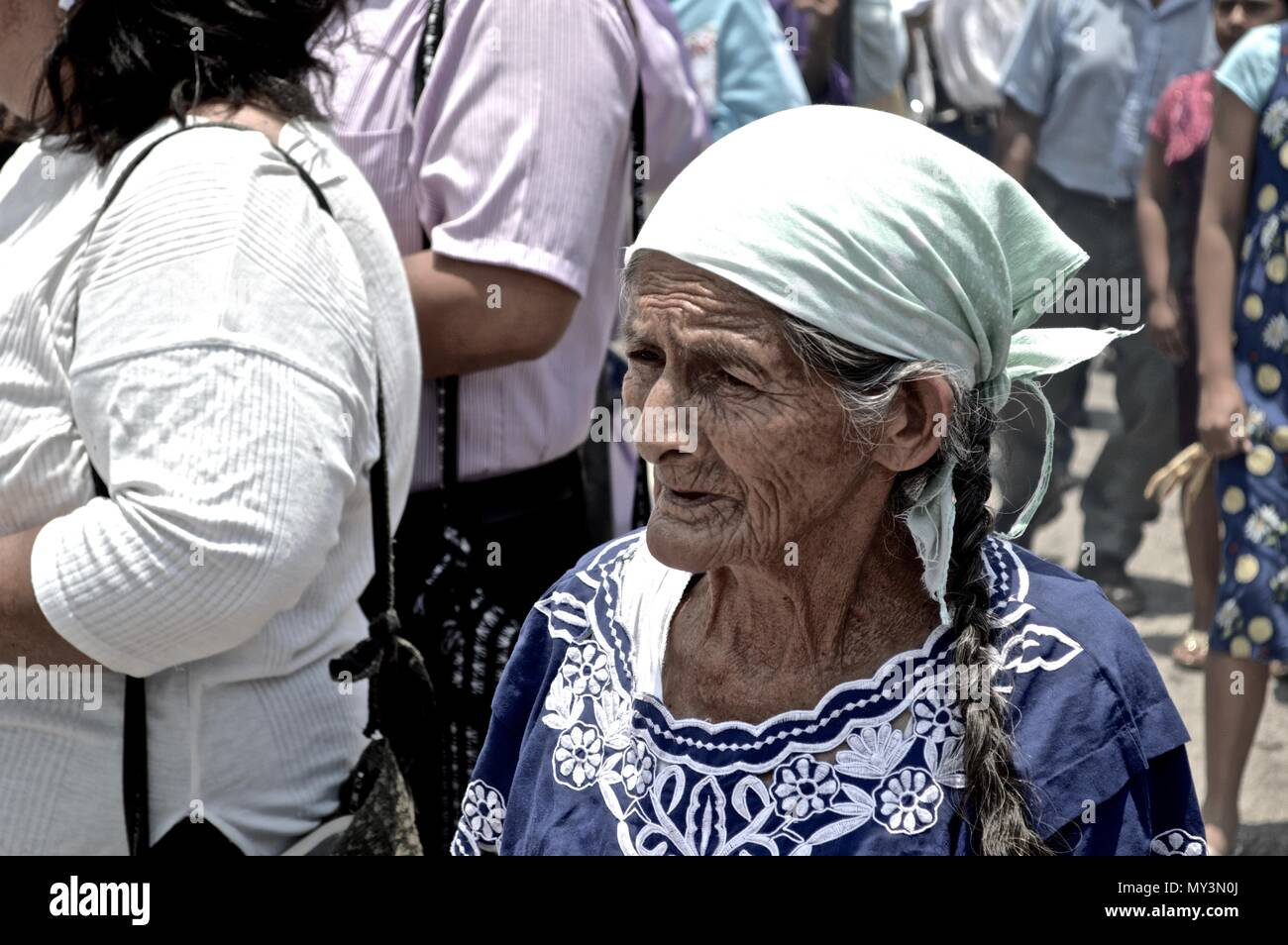 Woman at a Holy Week's Guatemalan Procession - Stock Image