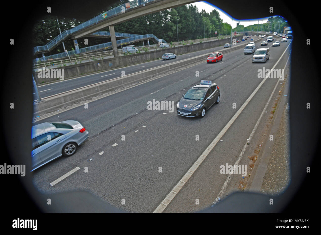 A learner driver seen om the M32 outbound of Bristol using the Motorway for the First Time Ever allowed in the UK. The driver has to be fully supervis - Stock Image