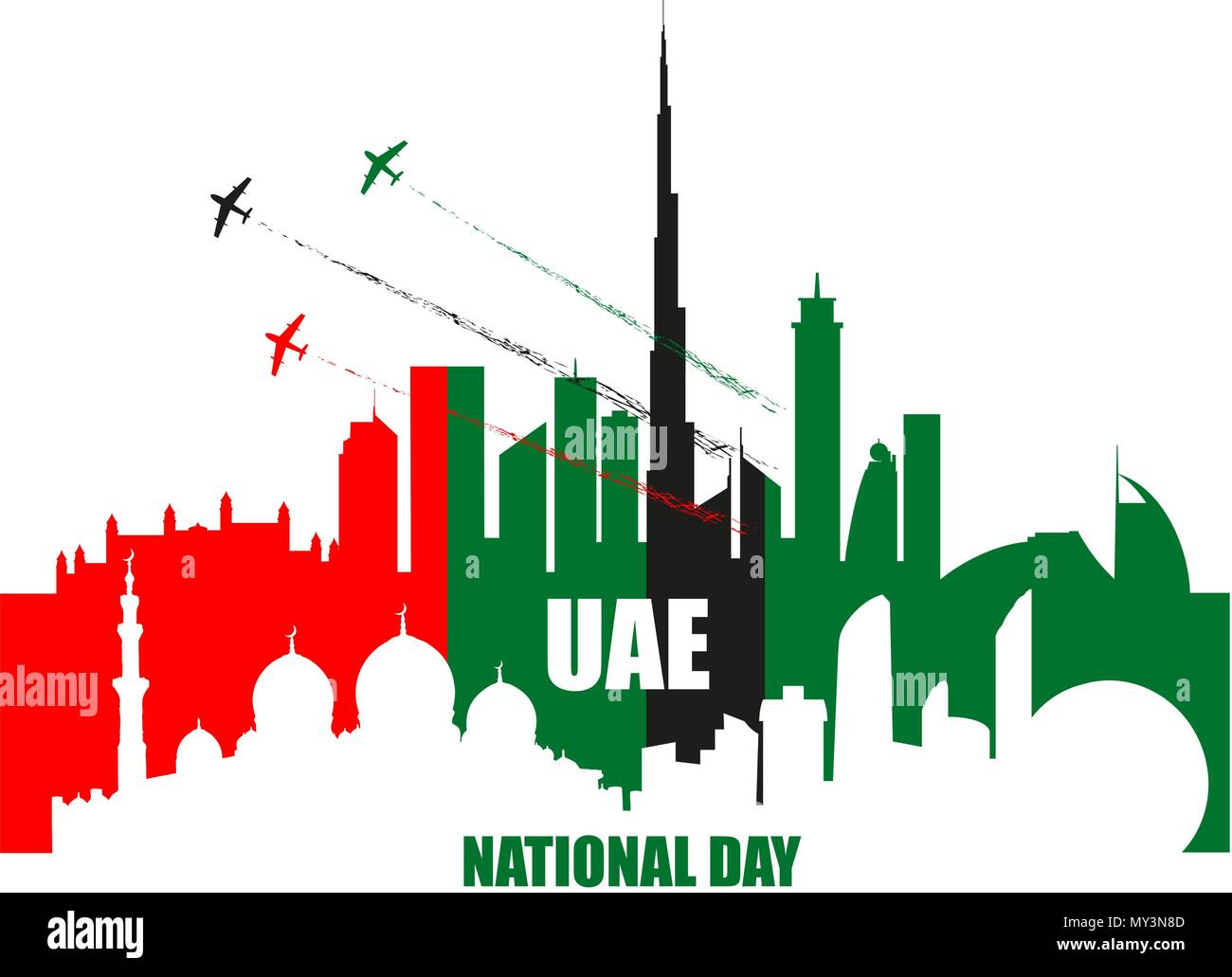 UAE National Day poster with landmarks, skyscrapers silhouettes and planes performing aerobatics in national flag colors vector illustration. Dubai an Stock Vector