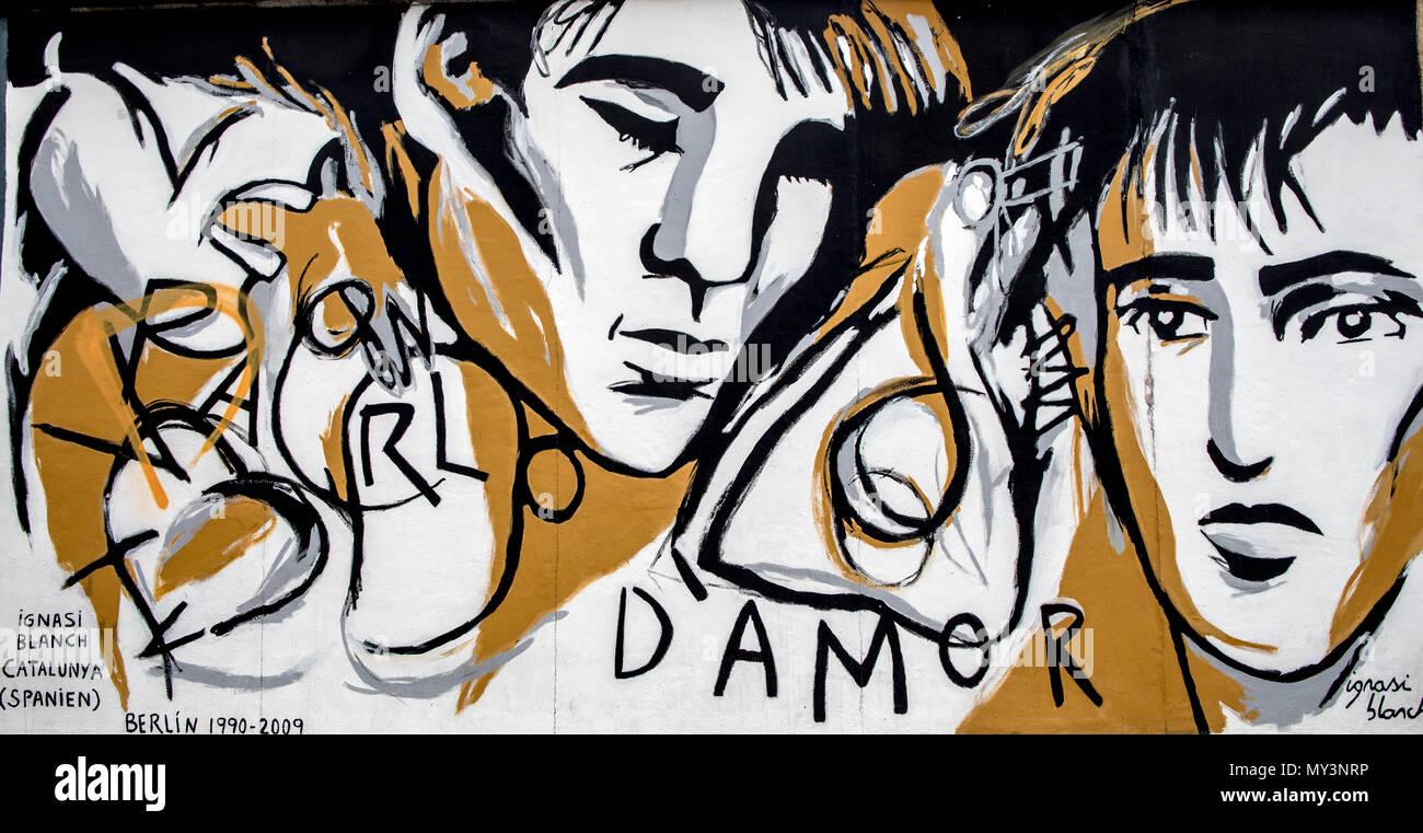 Berlin Wall Art On the East Side Gallery Berlin Germany - Stock Image