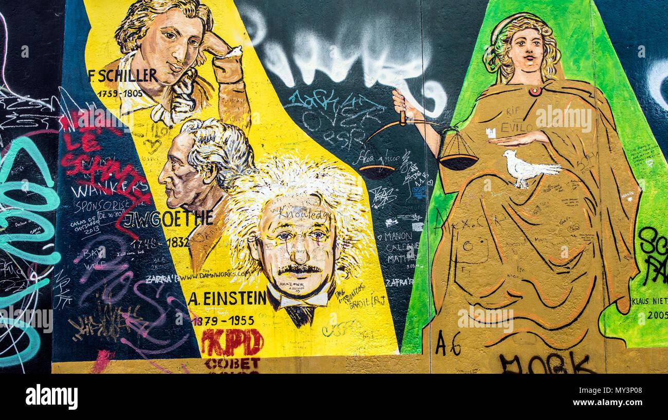 Einstein on The Berlin Wall Art On the East Side Gallery Berlin ...