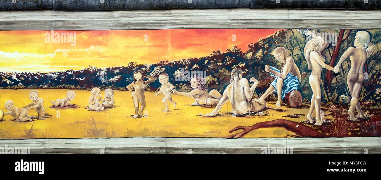 Berlin Wall Art On the East Side Gallery Berlin Germany Stock Photo ...