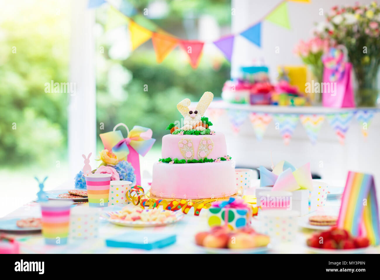 Kids Birthday Party Decoration And Cake Decorated Table For Child