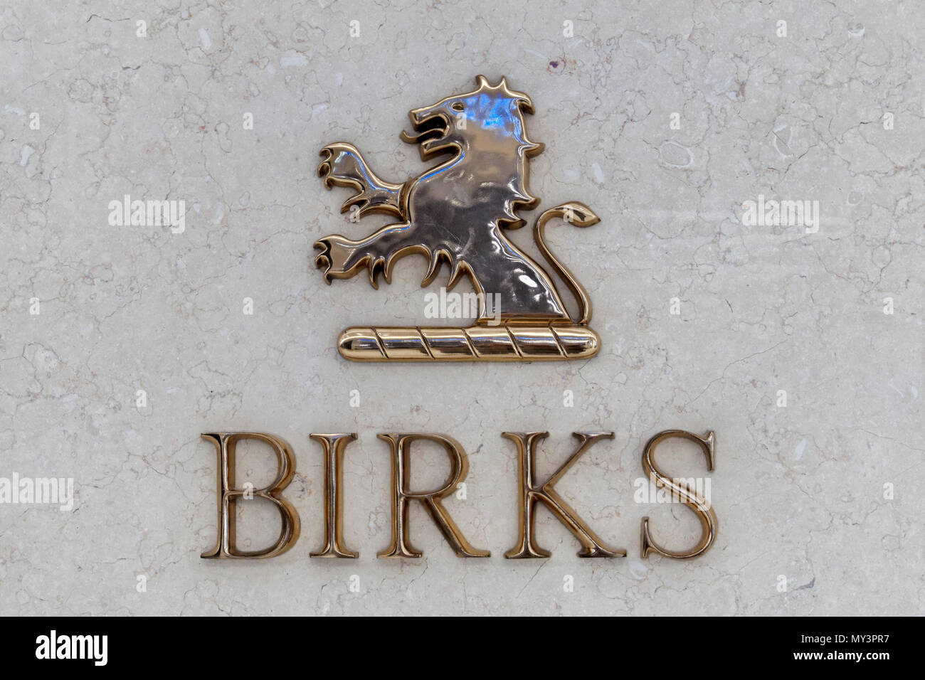 Birks jewelry store sign and logo in Park Royal South shopping mall, West Vancouver, BC, Canada Stock Photo