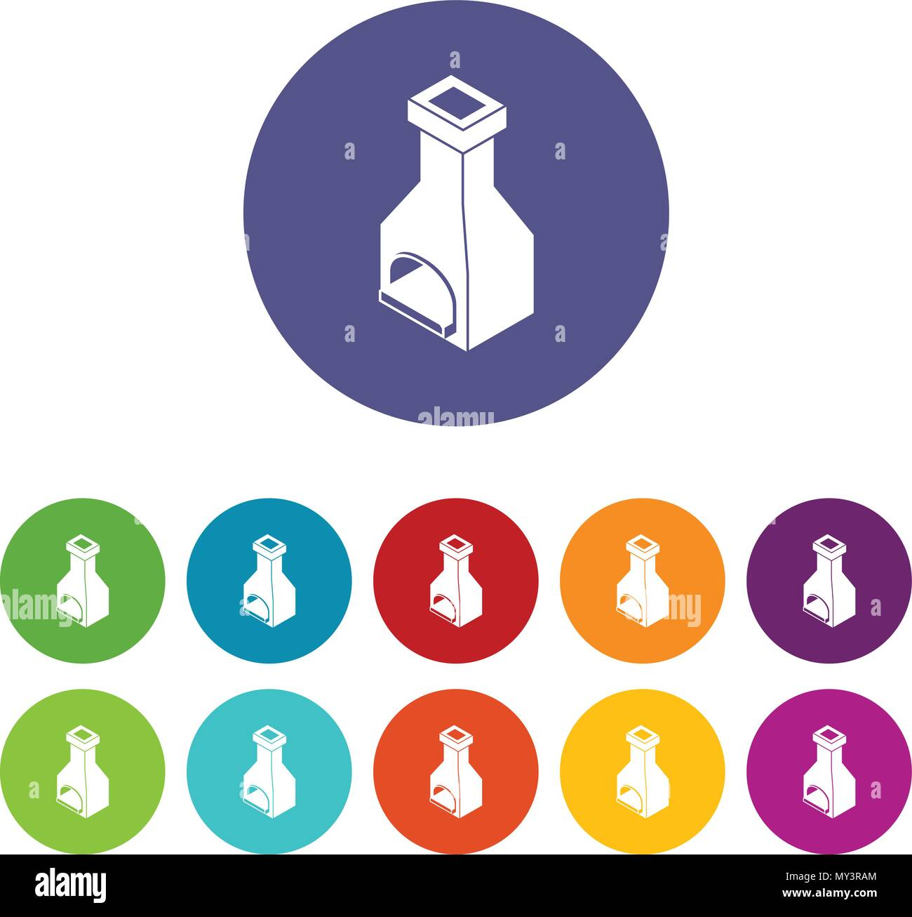 Old oven icons set vector color - Stock Vector