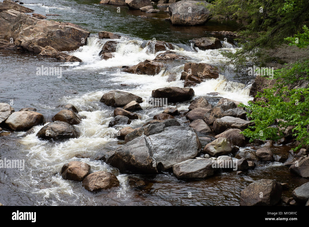 Waterfalls on the East Branch of the Sacandaga River above the Griffin Gorge in the Town of Wells, NY USA - Stock Image