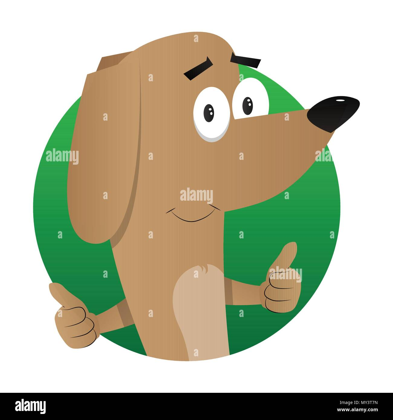 Cartoon illustrated dog making thumbs up sign with two hands. - Stock Image
